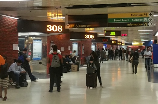 The gate numbers at Port AUthority bus terminal are angled so as to be visible from afar.